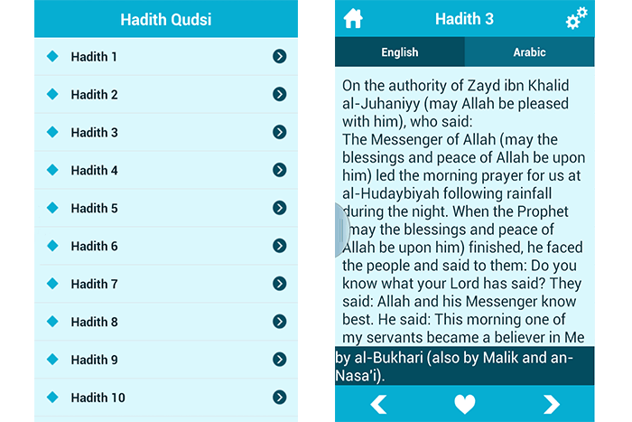 Hadith Qudsi with transliteration mobile app