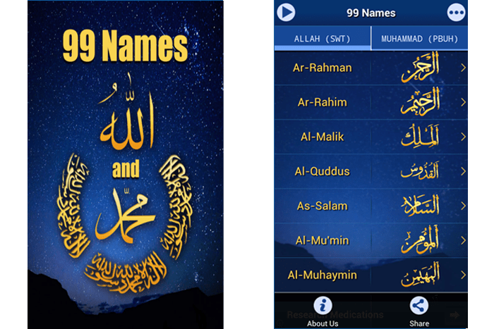Smartphone app for 99 Names